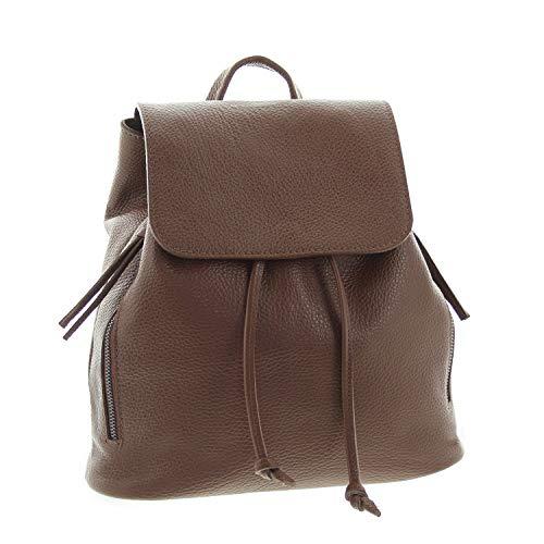 IO.IO.MIO Ital. Rucksack für Damen echt Leder Leichter Tagesrucksack Lederrucksack Frauen Daypack Damenrucksack erhältlich rot