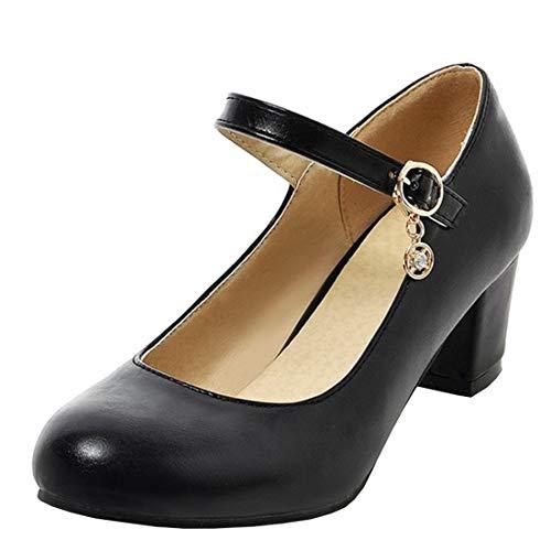 UH Damen High Heels Mary Jane Pumps mit Blockabsatz und Riemchen 6cm Absatz Kleid Schuhe Heel Mary Jane Pump Schuhe