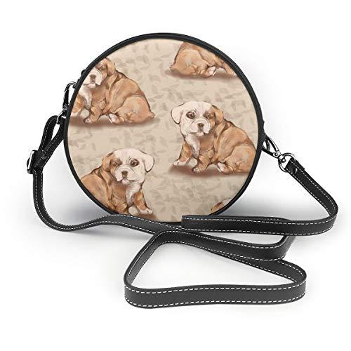 NR Damen Umhängetasche, Bulldoggen-Welpe mit Vinyl-Hintergrund, Reißverschluss, Umhängetasche, runde Handtasche