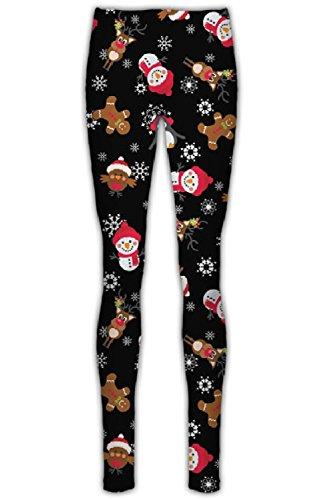 Janisramone Femmes Dames Nouveau Noël Xmas de Santa Bonhomme de neige Imprimé stretchy mince Fit guêtres jeggings trousers Les pantalons BLACK - Snowman With Cap Flake Print