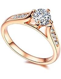 RedFly 18ct anillos de boda a la moda románticos de cristal CZ chapado en oro rosa