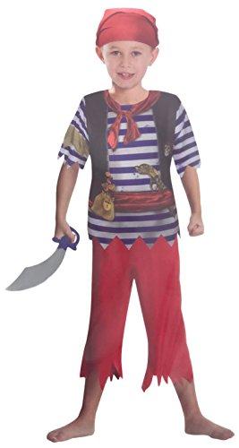 Brandsseller Jungen Kostüm Verkleidung Fasching Karneval Party - Pirat in Verschiedenen Größen erhältlich (Medium (7-10 Jahre), Pirat - Blau/Rot)