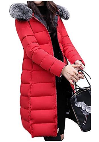 CuteRose Women Regular Fit Winter Reversible Fur Collar Overcoat Outerwear Red S Plus-size-reversible Coat