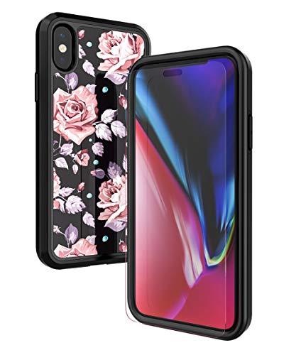 obbcase iPhone X Case, [gehärtetem Glas Displayschutzfolie] Dual Layer Hybrid Heavy Duty Shockproof Cover High Impact Resistant Schutzhülle für Apple iPhone X 2017Verizon, Rose Flower/Black