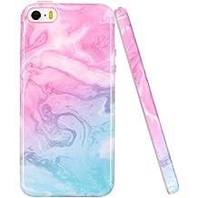iphone 5 Funda, JIAXIUFEN Funda de Silicona Suave Case Cover Protección cáscara Soft Gel TPU Carcasa Funda para Apple iphone 5/5S/SE - Rosa Azul Mármol Diseño
