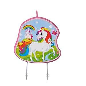 amscan 9904371 - Vela de cumpleaños, diseño de Unicornio, Multicolor