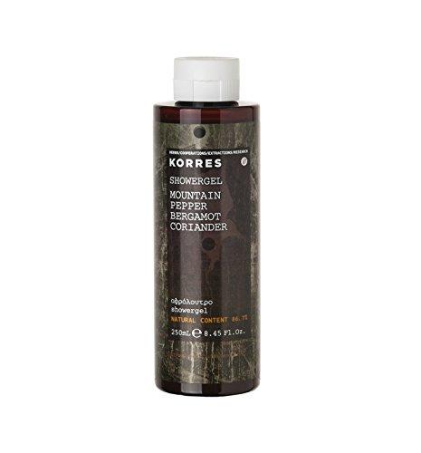 Ein Parfümiertes Duschgel (Korres Mountain Pepper / Bergamot / Coriander Parfümiertes Duschgel,1er Pack (1 x 250 ml))