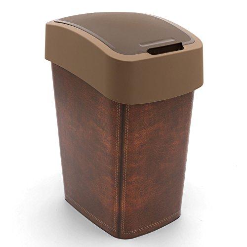 Curver Abfallbehälter 25L Flip Bin Leather Design Schwingdeckel Mülleimer Küche Haushalt