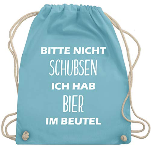 Festival Turnbeutel - Bitte nicht schubsen ich hab Bier im Beutel - Unisize - Hellblau - WM110 - Turnbeutel & Gym Bag