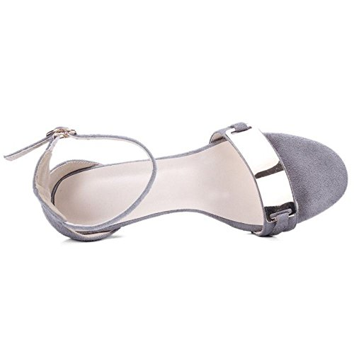 COOLCEPT Damen Mode Knochelriemchen Sandalen Stiletto Metall Open Toe Schuhe Gr Grau