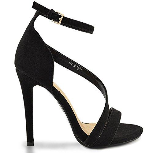 ESSEX GLAM Sandalo Donna Tacco Alto Plateau Cinturino alla Caviglia Festa Nero Finto Scamosciato