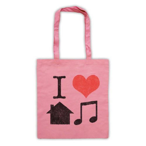 I Love House Music Slogan Tote Bag Rosa
