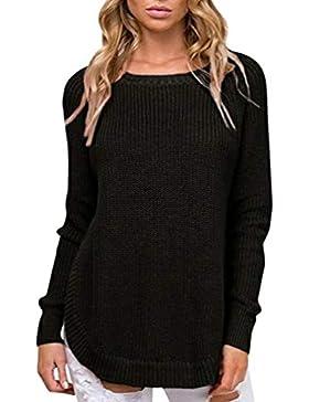 Cayuan Jerséy Mujeres Manga Larga Cuello Redondo Jersey Suéter de Punto Suelto Prendas de Punto Pulóver Otoño...