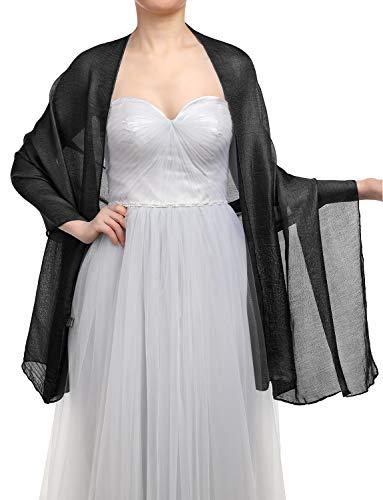 GardenWed Damen Glitzerschal Scarves Stola 70 * 180CM Sommer Tuch Stolen für Kleider in 22 Farben Black