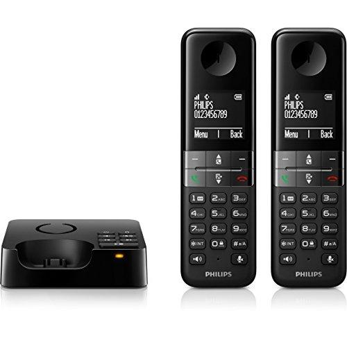 Philips Duo Schnurlostelefon mit Anrufbeantworter Schwarz Plug-Type C (EU)