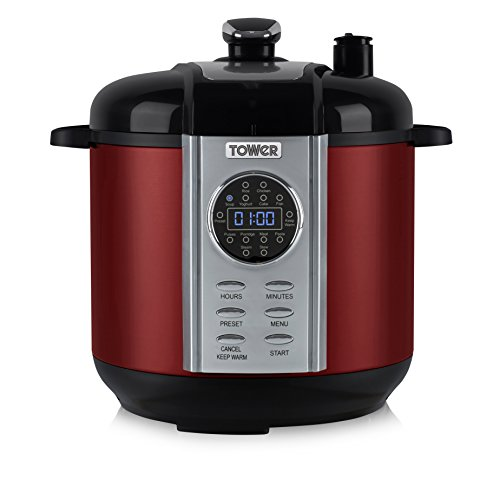 Tower Health T16005R One Pot Express Electric Pressure Cooker, 6 Litre, 1100 Watt, Red