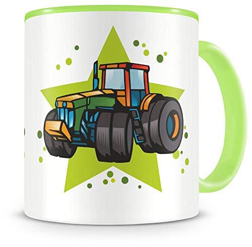 Samunshi® Kinder-Tasse mit Traktor als Motiv Trecker Bild Kaffeetasse Teetasse Becher Kakaotasse Traktor