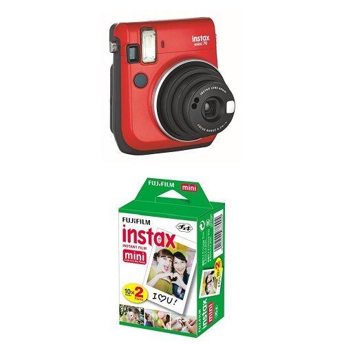 Preisvergleich Produktbild Instax Mini 70 Caméra instantané Rouge + Fujifilm - Twin Films pour Instax Mini - 86 x 54 mm - Pack 2 x 10 Films