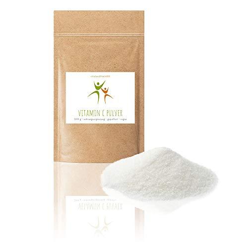 Vitamin C Pulver 200 g - gepuffert als Calciumascorbat - besonders magenfreundlich - in geprüfter Qualität - 100% vegan - glutenfrei, lactosefrei -OHNE Hilfs- u. Zusatzstoffe -