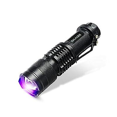 Skaize Schwarzlicht Taschenlampe UV LED-Handlampe Prüfgerät (395nm, Zoombar, Wasserfest IPX7)