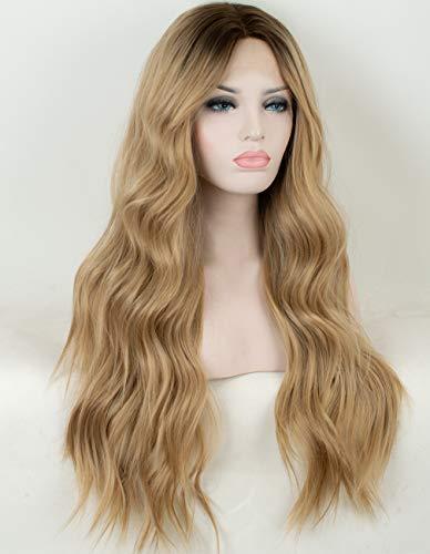 Chantiche Blond-Perücke mit Spitze vorne, für Damen, klebefrei, Ombreblond, langes, welliges Kunsthaar, mit braunen Wurzeln, hitzebeständig