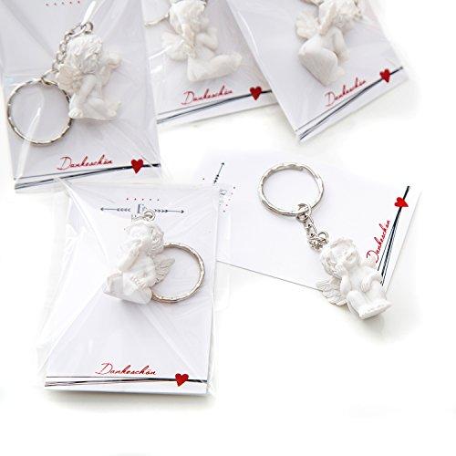 Geschenk-korb Geschenk-karte Mit (10 Stück kleine weiße Mini-Engel Schutzengel Engel-Anhänger Weihnachten Hochzeit Kinder-Geburtstag Kommunion 3,5 cm aus Gips mit kleiner Mini-Gruß-Karte