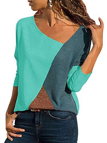 Minetom Casual Patchwork Farbblock Langarm T-Shirt Asymmetrischer V-Ausschnitt Langarmshirt Tops Sweatshirt Tunika Top Pullover Bluse Oberteil Blau DE 38 -
