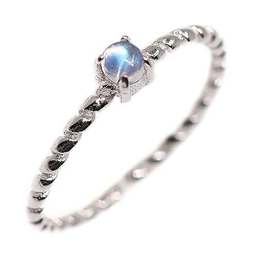 Luna Azure Natural piedra lunar Plata de Ley 925 ajustable con anillo