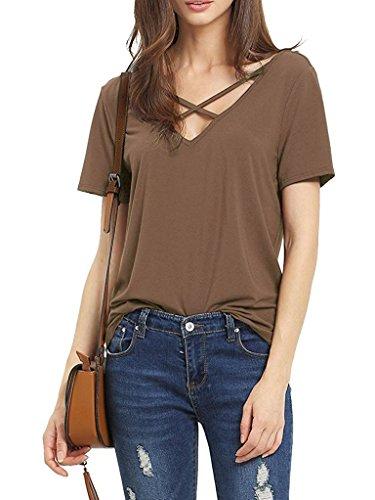 Suimiki Damen Sommer Kurzarm T-Shirt V-Ausschnitt mit Schnürung Vorne Oberteil Tops Bluse Shirt (M, Kaffee) (Kleidung Mädchen Com)