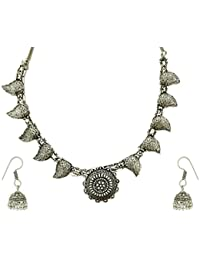 The Trendy Trendz Oxodised Silver Metal Gypsy Style Statement Necklace Jewellery For Girls And Women (Navratri...