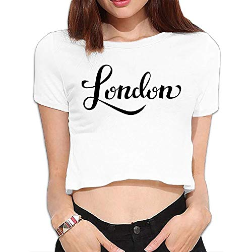 LMNcrop London Women's Crop Top Round Neck Short Sleeve Tee Clothes