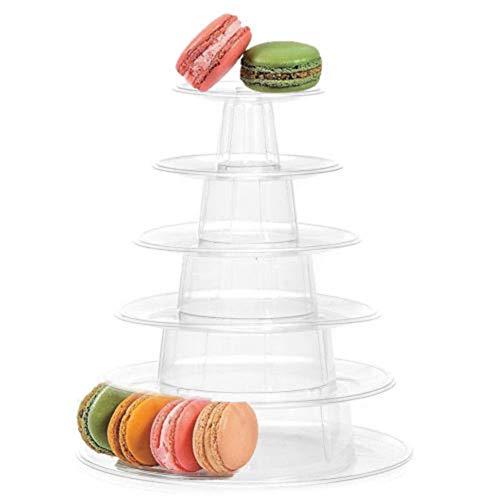 HINMAY Tortenständer, 6 Etagen, rund, Macaron-Turm, Cupcake-Macaron, Tortenständer, Macaron-Halterung, für Hochzeit, Geburtstag, Oster-Party, Dekoration (klar), farblos, Free Size