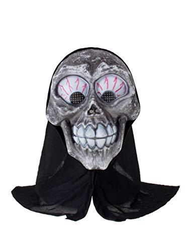 �m Accessoires Zubehör Horror Crazy Totenkopf, Zombie Maske mit Kapuze, Mask Mad Skull with Hood, perfekt für Halloween Karneval und Fasching, Schwarz ()