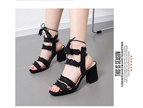 Quaste Kreuzband Schnüren Offener Zeh Römischen Stil High Heel Sandale für Frauen Gericht Schuhe Black