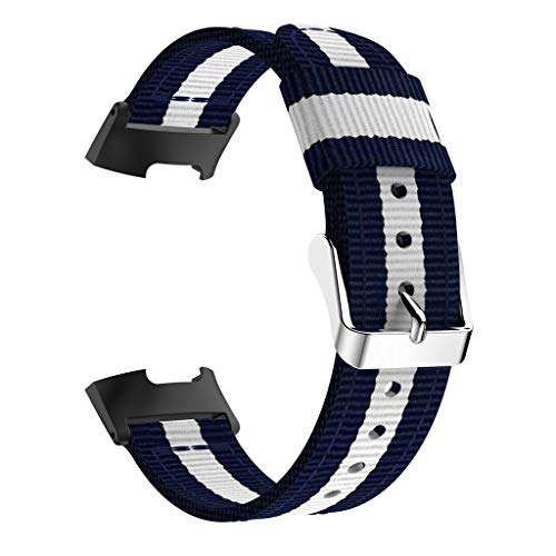 Für Fitbit Charge 3 webtes Nylon Gewebe Band Wrist Bracelet Strap Wristband für Fitbit Charge 3 Fitness Tracker Damen Herren Small-Large Geschenkbox (Weiß)