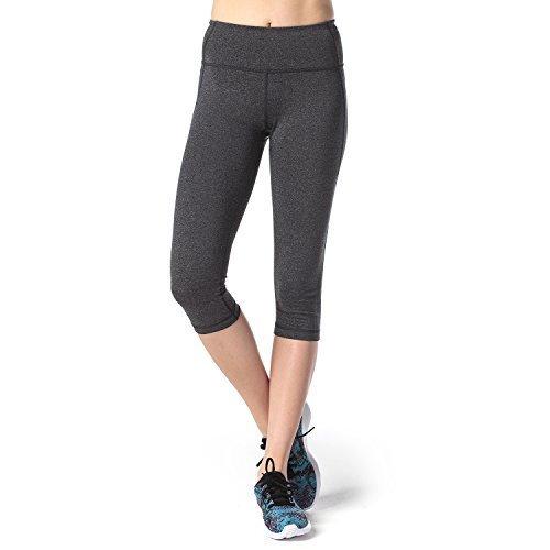 Lapasa Damen 3/4 Sport Leggings – blickdicht, dehnbar und luftig, 3/4 Yoga Sporthose, Damen kurz Training Tights, L002, Meliert dunkelgrau, M