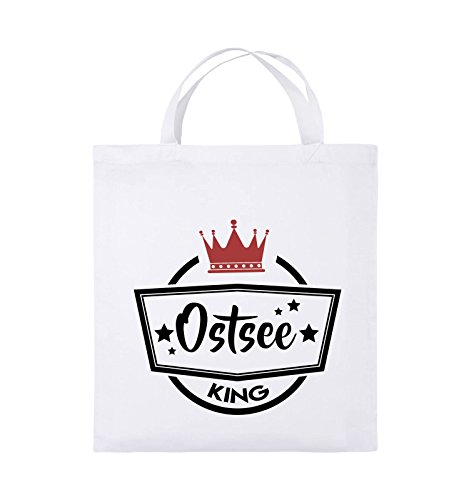 Comedy Bags - Ostsee King - KRONE - Jutebeutel - kurze Henkel - 38x42cm - Farbe: Royalblau / Weiss-Gelb Weiss / Schwarz-Rot