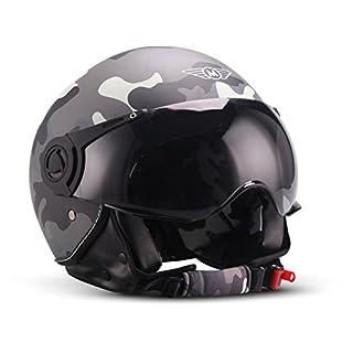 "Moto Helmets® H44 ""Camouflage"" · Jet-Helm · Motorrad-Helm Roller-Helm Scooter-Helm Bobber Mofa-Helm Chopper Retro Cruiser Vintage Pilot Biker Helmet · ECE Visier Schnellverschluss Tasche S (55-56cm)"