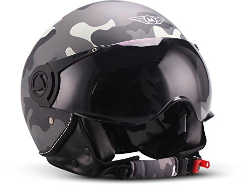 "Moto Helmets®, H44, ""Camouflage"", Casco jet da moto, vintage, visiera ECE, a sgancio rapido, XS - XL, 53 - 62 cm,"