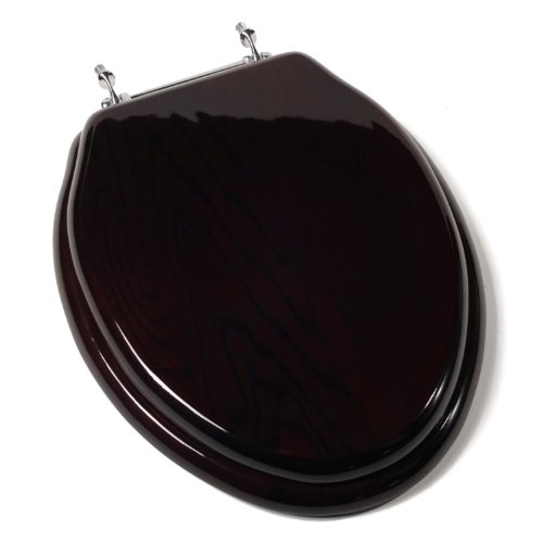 Comfort Seats C1B1E16CH Designer Solid Wood Toilet Seat with PVD Chrome Hinges, Elongated, Mahogany by Comfort Seats