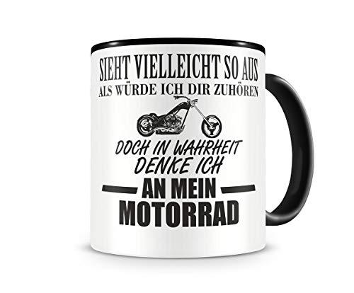 Samunshi® Ich denke an mein Motorrad Chopper Tasse Kaffeetasse Teetasse Kaffeepott Kaffeebecher Becher Chopper