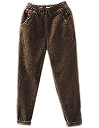 ae3fc74aad1b Hellomiko Pantalon Vintage en Velours côtelé pour Femme Taille mi-Longueur  Cheville Longueur Sarouel Velours