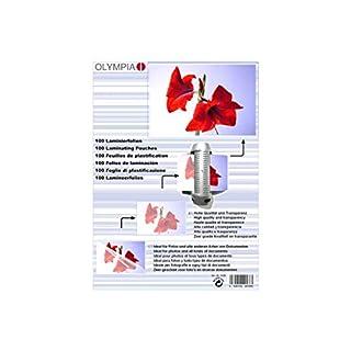 Olympia 9168, Laminierfolien, DIN A6, 80 mic, 100 Stück, glänzend/transparent, geeignet für alle Heißlaminiergeräte