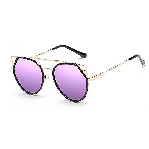 Y-weifeng occhiali da sole da donna personalità occhi di gatto per occhiali da sole con montatura in metallo protezione uv guida unisex con bordi per viaggiare lenti colorate (colore : viola)