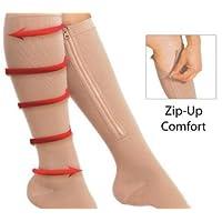 takestop® CALZE A COMPRESSIONE ZIP SOX l/xl nudo SUPPORTO GAMBE