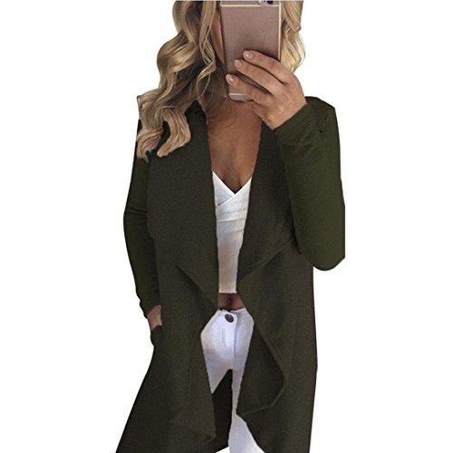 Clode® Femmes printemps automne occasionnels veste à manches longues Slim Cardigan solide manteau Vert de l'armée