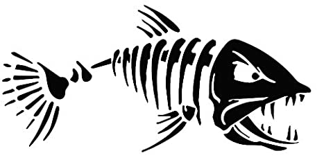 Angry Skelett Fisch Maßnahmen 15,2x 7,6cm Auto Van-Biker-Aufkleber-Free P & P