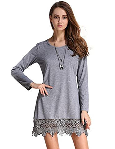 Match Women's Long Sleeve Lace Loose Casual Dress (BBX-8191 Heather gray,Large)