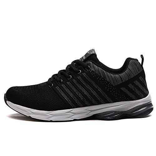 Fexkean Herren Laufschuhe Sportschuhe Atmungsaktiv Gym Turnschuhe Freizeit Running Sneakers(Black43)