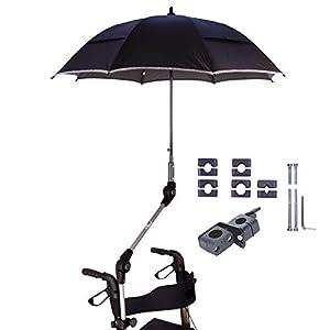 """MPB® Rollatorschirm 99 SR (PASSEND FÜR 99% ALLER ROLLATOREN!), Regenschirm und Sonnenschirm, schwarz-reflektierend, mit 2 Verstellgelenken, Mikrofaser-Schirm mit""""Air-Vent System"""", inkl. Schirmhülle"""